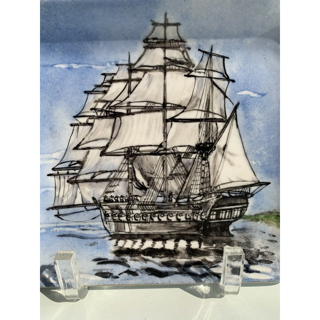1975 clipper ship hand painted tray