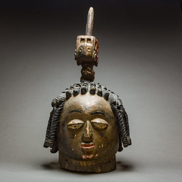 Yoruba Wooden Polychrome Dance Mask For Sale - Image 4 of 4
