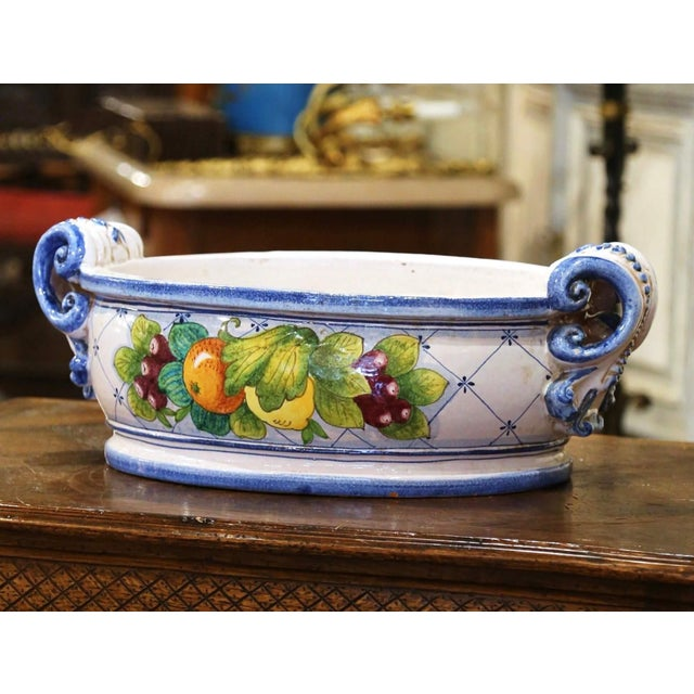 French Vintage French Hand Painted Oval Dish With Handles For Sale - Image 3 of 11