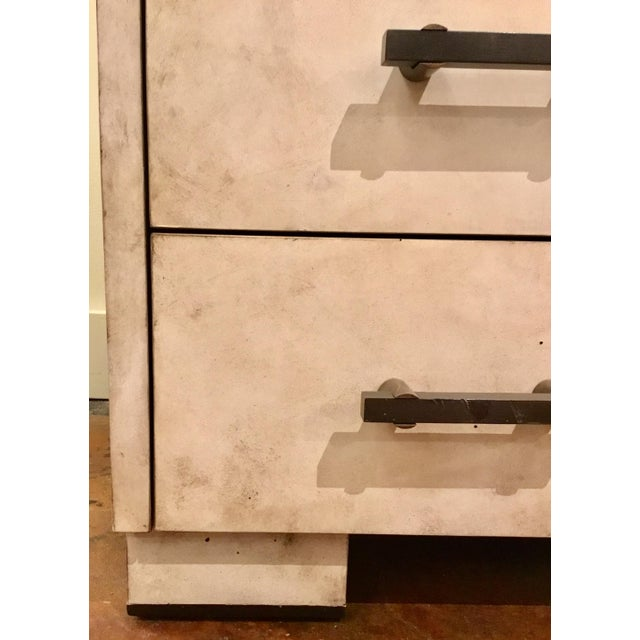 2010s Henredon Acquisitions Modern Off-White Leather Chest of Drawers For Sale - Image 5 of 6