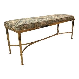Vintage Hollywood Regency Agate Upholstery Polished Brass Bench For Sale