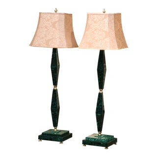 Mid Century Italian Art Moderne Malachite and Gilt Bronze Floor Lamps - a Pair For Sale