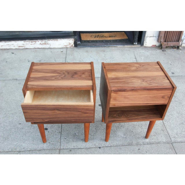 Brown Mid-Century Modern Walnut Night Stands - a Pair For Sale - Image 8 of 12