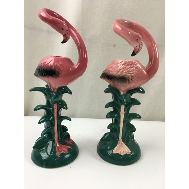 Pink Flamingo Candleholders - A Pair - Image 4 of 5