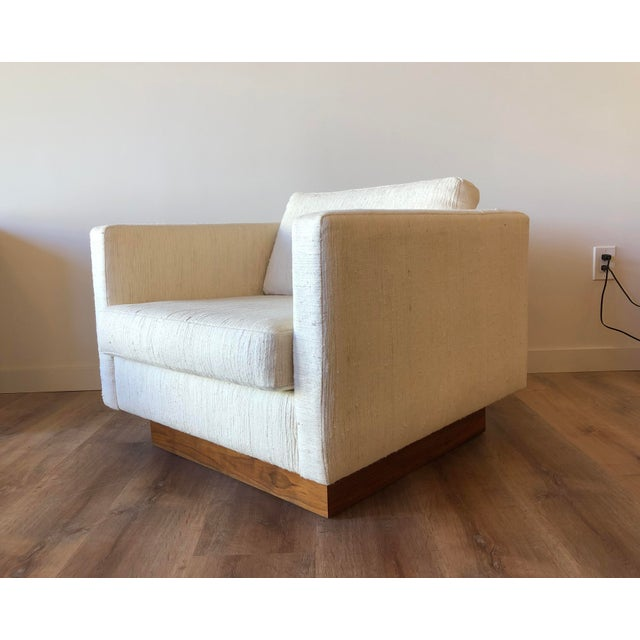 Scandinavian Vintage Modern Box / Club Chair With Boucle Upholstery and Walnut Base For Sale - Image 12 of 12