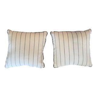 Black Stripe White Decorative Pillows - A Pair For Sale