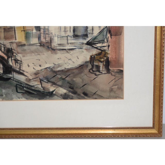 Impressionism 1950s European Street Scene Original Watercolor Painting by Riva Helfond For Sale - Image 3 of 9