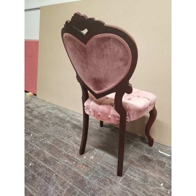 Vintage Victorian Pink Velvet Heart Shaped Chair For Sale - Image 4 of 6 - Vintage Victorian Pink Velvet Heart Shaped Chair Chairish