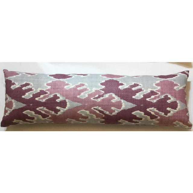Purple & Gray Linen Ikat Pillow - Image 4 of 7