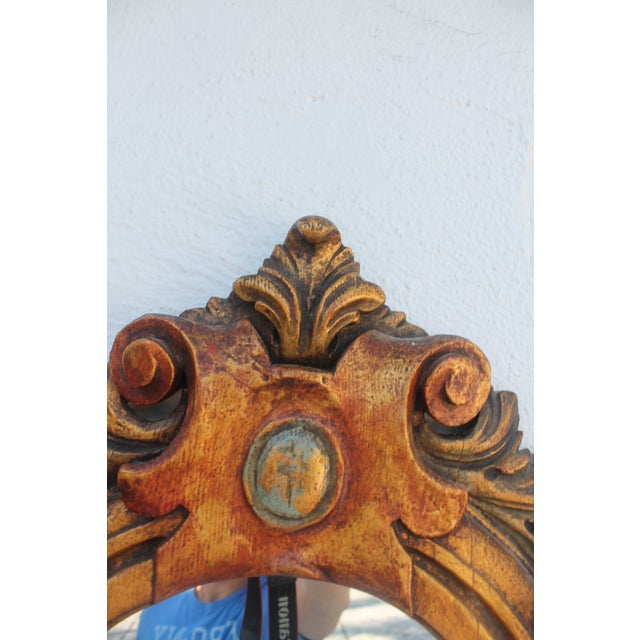 Antique Hand Carved Solid Wood Wall Mirror - Image 4 of 8