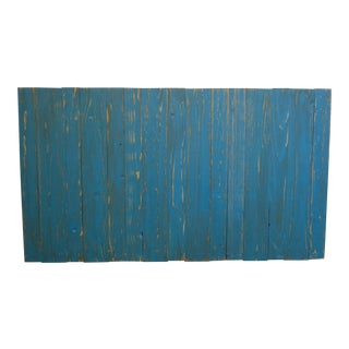 Teal Weathered Look Queen Headboard Hanger Style