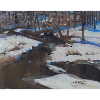 Realist Winter Stream Painting For Sale