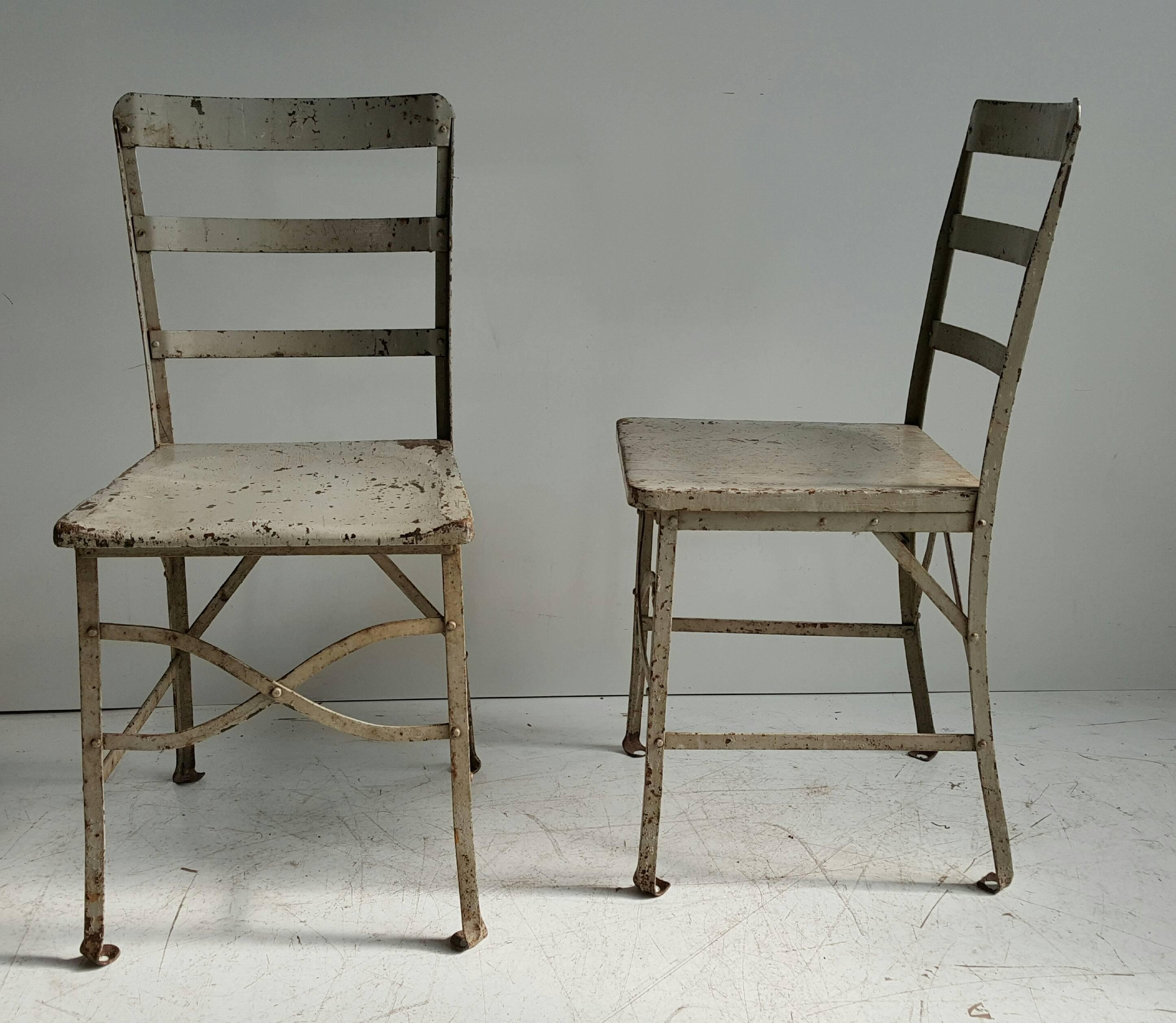 Charmant Industrial American Modernist Old Factory Grey Painted Toledo Industrial  Chairs   A Pair For Sale