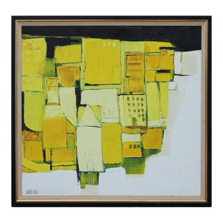 Late 20th Century Modernist Abstract Textured Landscape Acrylic Painting by Patty Waldrip-Taylor, Framed For Sale