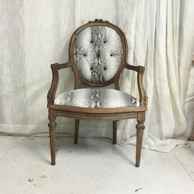 Boho Chic Hollywood Regency Daf House Genuine Python Leather and Swarovski Crystal Arm Chair For Sale - Image 3 of 12