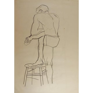 Line Drawing Male Figure 1950's For Sale