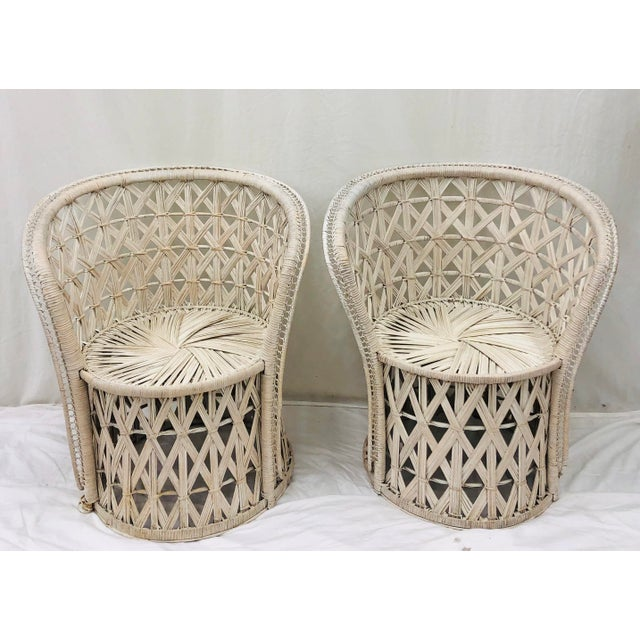 """Pair Stunning Vintage """"Butterfly"""" Or """"Honeymoon"""" Hollywood Regency Style Boho Chic Woven White Wicker & Bent Rattan..."""