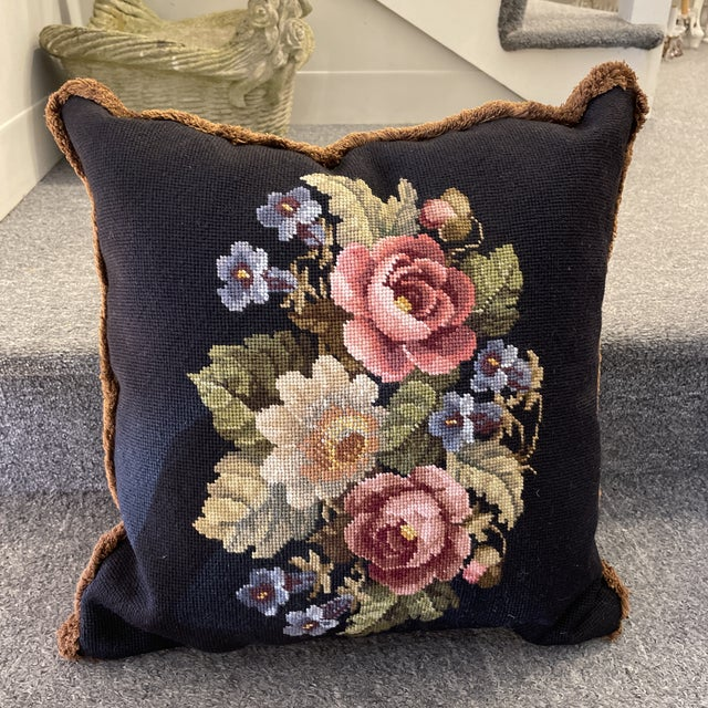 Vintage Needlepoint Floral Pillow For Sale In Boston - Image 6 of 6