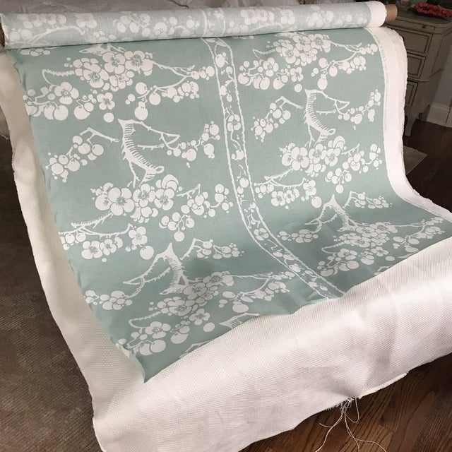 two beautiful yards of China Sea's Hawthorne linen fabric in a Celadon blue-green color way.