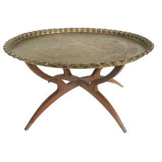 Vintage Moroccan Brass Tray Table W/ Teak Folding Stand For Sale