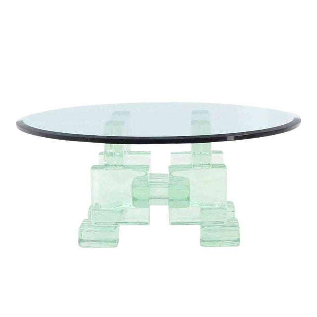 Solid Glass Blocks Glass Top Coffee Table For Sale