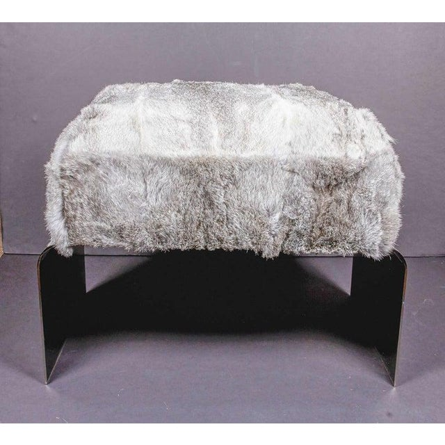 Luxurious Mid-Century Modern Style Lapin Fur Ottoman Stool With Black Chrome Base For Sale In Miami - Image 6 of 9