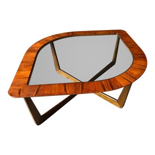 1950s Vintage Mid-Century Modern Lane Teak & Glass Cat Eye Coffee Table For Sale