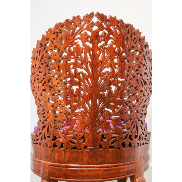 Anglo-Indian Anglo-Raj Carved Wood Side Lounge Chairs - a Pair For Sale - Image 3 of 13