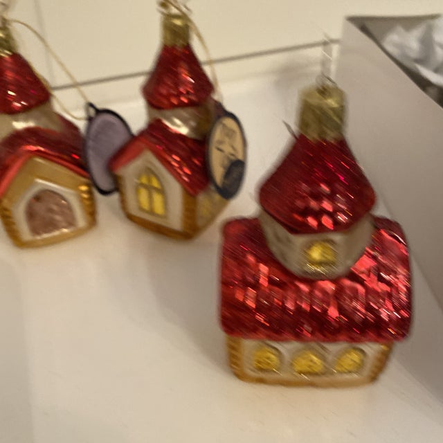 Inge Church and House Collection Glass Ornaments - Set of 6 For Sale - Image 9 of 11