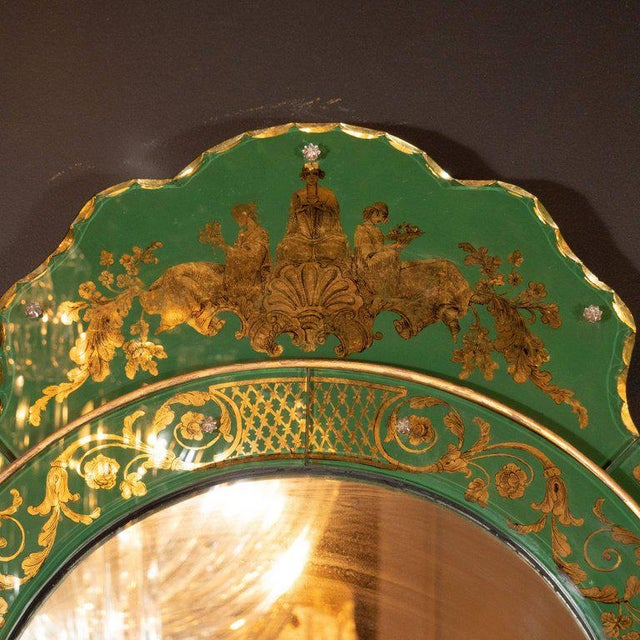 Giltwood Mid-Century Modern Emerald Reverse Églomisé Mirror With Gilt Detailing For Sale - Image 7 of 10