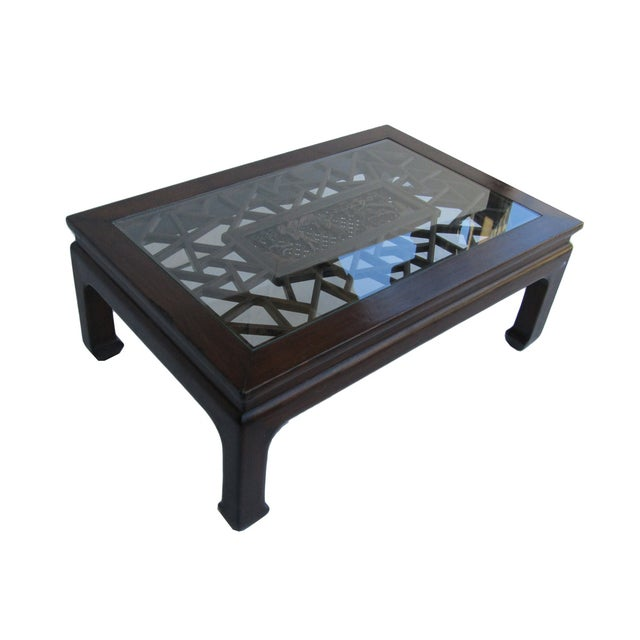 Chinese Recetangular Carved Panel Glass Coffee Tab - Image 2 of 5