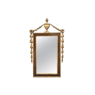 Tole Neoclassical Gilt Wood and Mahogany Tall Rectangular Trumeau or Mantle Mirror With Crest and Trompe L Oeil Floral Frame For Sale