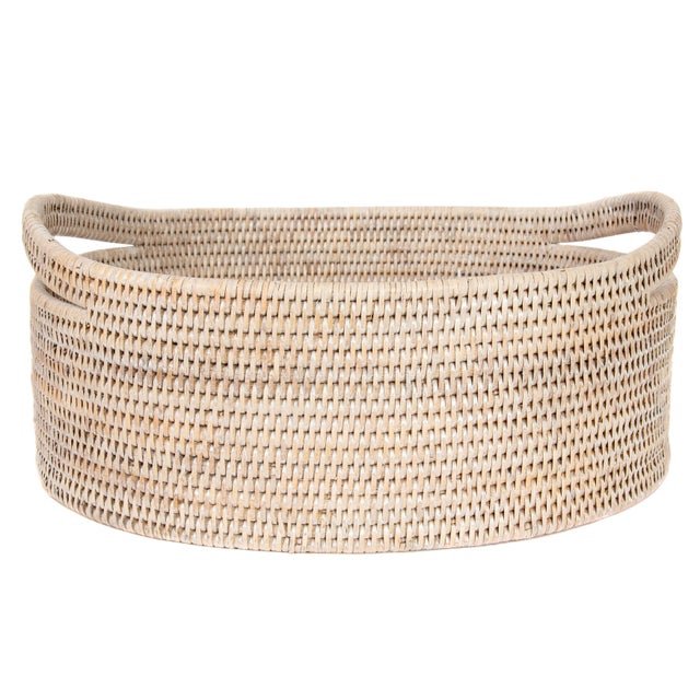 Boho Chic Artifacts Rattan Oval Basket With Cutout Handles in White Wash For Sale - Image 3 of 6