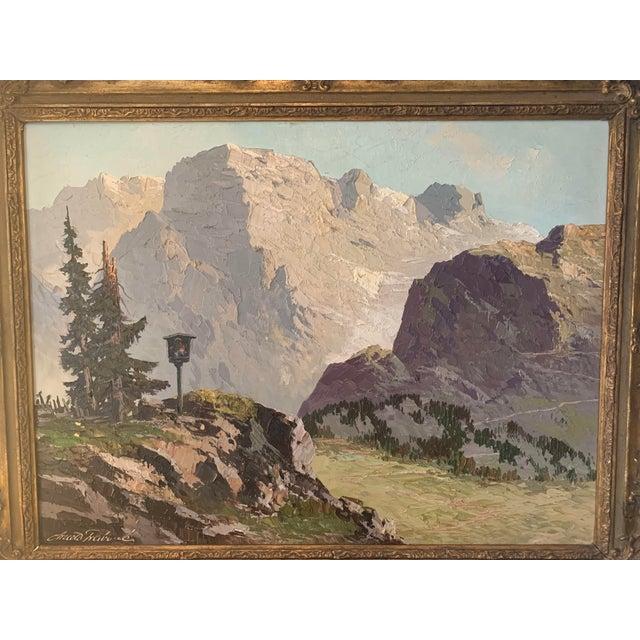 Impressionist Large Framed Mountain Scene Oil Painting in Gilt Gold Frame For Sale - Image 3 of 13