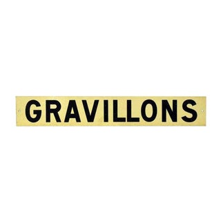 French Gravillons Road Sign For Sale
