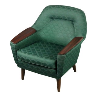Danish Modern Lounge Chair with Walnut Arm Detail For Sale