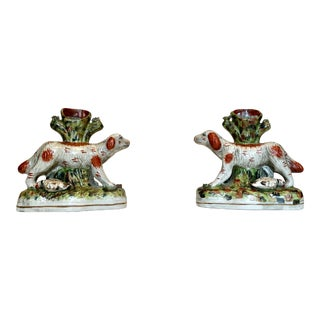 Early 20th Century Staffordshire Style Porcelain Spill/Bud Vases Hunting Dog a - a Pair For Sale
