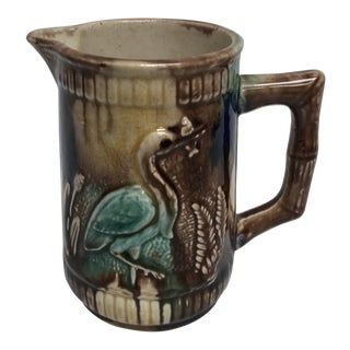 Vintage Majolica Crane & Fish Creamer For Sale