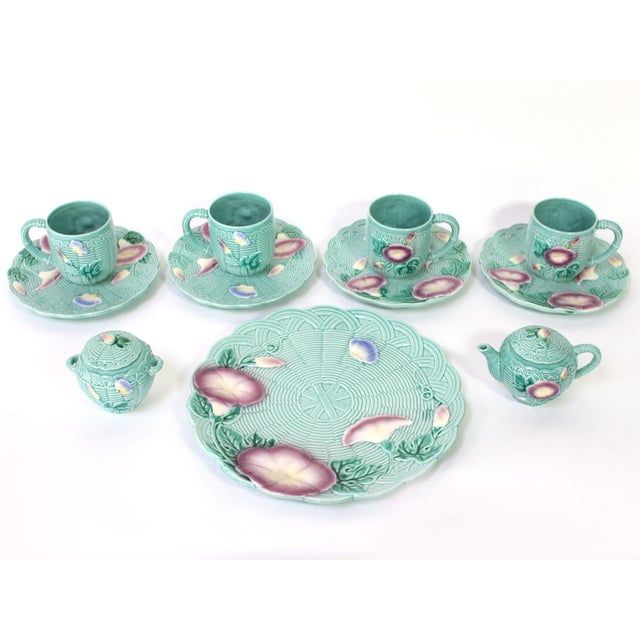 """From the Haldon Group's series of basketweave motif majolica, """"Morning Glory"""" pattern includes 4 mugs, 4 dessert plates,..."""