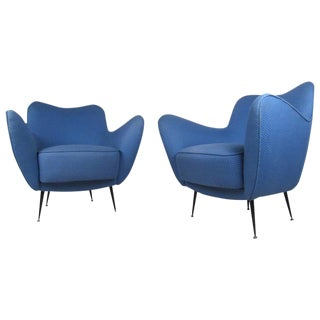 Pair of Vintage Modern Italian Sculpted Lounge Chairs For Sale