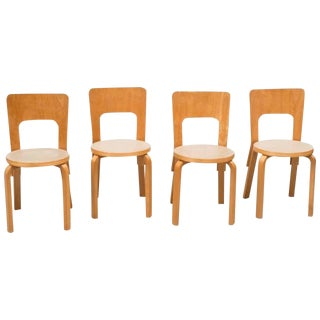1930s Vintage Alvar Aalto Model 66 Dining Chairs- Set of 4 For Sale