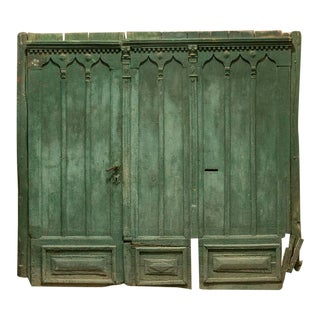 Antique Huge Architectural Green Gate Large Salvaged Doors For Sale