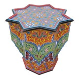 Image of Moroccan Lg Ceuta 4 Painted and Carved Star Table, Multi-Color For Sale
