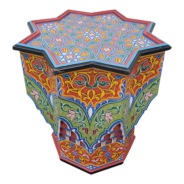Moroccan Lg Ceuta 4 Painted and Carved Star Table, Multi-Color For Sale