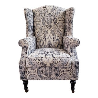 Upholstered Wing Chair in Marlana Indigo Fabric With Turned Front Legs on Casters For Sale