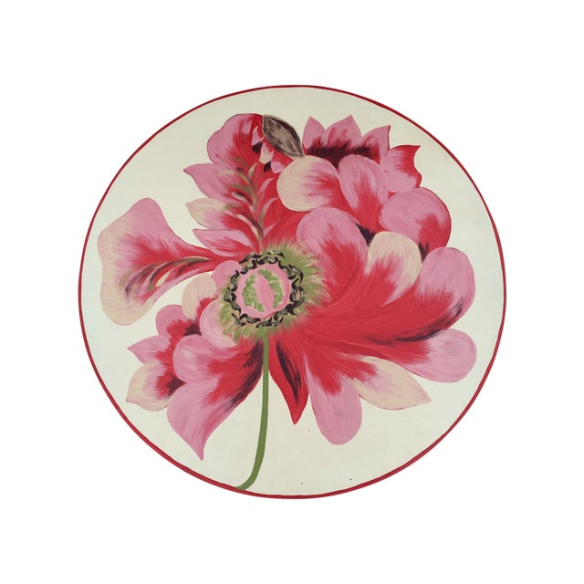 Metal Floral Painted Side Table Cover - Image 1 of 10