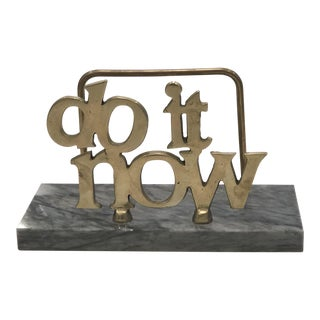 Vintage Brass and Marble Do It Now Letter Holder