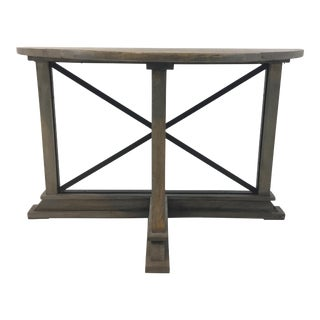 Industrial Modern Reclaimed Wood Trestle Demi-Lune Console Table For Sale