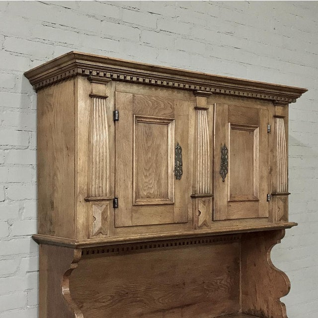 19th Century Rustic Dutch Oak Two-Tiered Buffet For Sale - Image 4 of 13