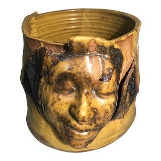 Hand Built Folk Art Face Pottery Planter Pot Signed Sarah Fuhro of Moonworks Pottery For Sale